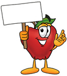 Clip art Graphic of a Red Apple Cartoon Character Holding a Blank Sign