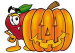 Clip art Graphic of a Red Apple Cartoon Character With a Carved Halloween Pumpkin