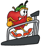 Clip art Graphic of a Red Apple Cartoon Character Walking on a Treadmill in a Fitness Gym