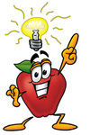 Clip art Graphic of a Red Apple Cartoon Character With a Bright Idea