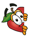 Clip art Graphic of a Red Apple Cartoon Character Peeking Around a Corner