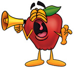 Clip art Graphic of a Red Apple Cartoon Character Screaming Into a Megaphone