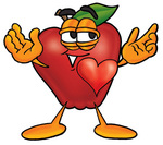 Clip art Graphic of a Red Apple Cartoon Character With His Heart Beating Out of His Chest