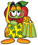 Clip art Graphic of a Red Apple Cartoon Character in Green and Yellow Snorkel Gear