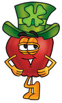 Clip art Graphic of a Red Apple Cartoon Character Wearing a Saint Patricks Day Hat With a Clover on it