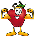 Clip art Graphic of a Red Apple Cartoon Character Flexing His Arm Muscles