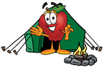 Clip art Graphic of a Red Apple Cartoon Character Camping With a Tent and Fire