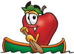 Clip art Graphic of a Red Apple Cartoon Character Rowing a Boat