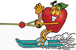 Clip art Graphic of a Red Apple Cartoon Character Waving While Water Skiing