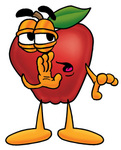 Clip art Graphic of a Red Apple Cartoon Character Whispering and Gossiping
