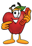 Clip art Graphic of a Red Apple Cartoon Character Holding a Telephone