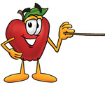 Clip art Graphic of a Red Apple Cartoon Character Holding a Pointer Stick