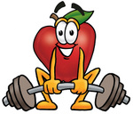 Clip art Graphic of a Red Apple Cartoon Character Lifting a Heavy Barbell