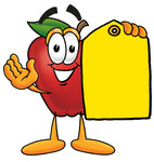 Clip art Graphic of a Red Apple Cartoon Character Holding a Yellow Sales Price Tag