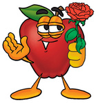 Clip art Graphic of a Red Apple Cartoon Character Holding a Red Rose on Valentines Day