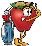 Clip art Graphic of a Red Apple Cartoon Character Swinging His Golf Club While Golfing