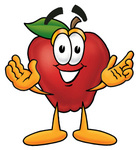 Clip art Graphic of a Red Apple Cartoon Character With Welcoming Open Arms