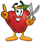 Clip art Graphic of a Red Apple Cartoon Character Holding a Pair of Scissors
