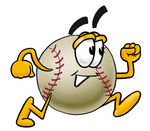 Clip art Graphic of a Baseball Cartoon Character Running
