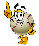 Clip art Graphic of a Baseball Cartoon Character Pointing Upwards