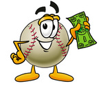 Clip art Graphic of a Baseball Cartoon Character Holding a Dollar Bill