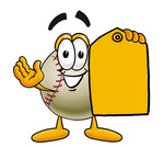 Clip art Graphic of a Baseball Cartoon Character Holding a Yellow Sales Price Tag