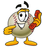 Clip art Graphic of a Baseball Cartoon Character Holding a Telephone