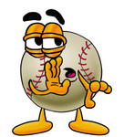 Clip art Graphic of a Baseball Cartoon Character Whispering and Gossiping