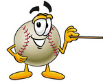 Clip art Graphic of a Baseball Cartoon Character Holding a Pointer Stick