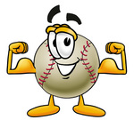 Clip art Graphic of a Baseball Cartoon Character Flexing His Arm Muscles