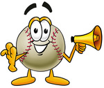 Clip art Graphic of a Baseball Cartoon Character Screaming Into a Megaphone