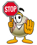 Clip art Graphic of a Baseball Cartoon Character Holding a Stop Sign