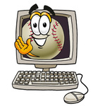 Clip art Graphic of a Baseball Cartoon Character Waving From Inside a Computer Screen