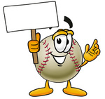 Clip art Graphic of a Baseball Cartoon Character Holding a Blank Sign