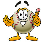 Clip art Graphic of a Baseball Cartoon Character Holding a Pencil