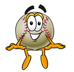 Clip art Graphic of a Baseball Cartoon Character Sitting