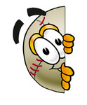 Clip art Graphic of a Baseball Cartoon Character Peeking Around a Corner