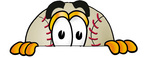 Clip art Graphic of a Baseball Cartoon Character Peeking Over a Surface