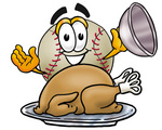 Clip art Graphic of a Baseball Cartoon Character Serving a Thanksgiving Turkey on a Platter