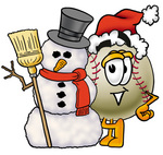 Clip art Graphic of a Baseball Cartoon Character With a Snowman on Christmas