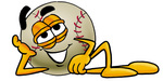 Clip art Graphic of a Baseball Cartoon Character Resting His Head on His Hand