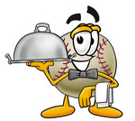 Clip art Graphic of a Baseball Cartoon Character Dressed as a Waiter and Holding a Serving Platter