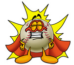 Clip art Graphic of a Baseball Cartoon Character Dressed as a Super Hero