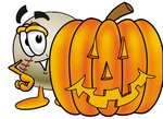 Clip art Graphic of a Baseball Cartoon Character With a Carved Halloween Pumpkin