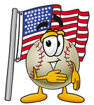 Clip art Graphic of a Baseball Cartoon Character Pledging Allegiance to an American Flag
