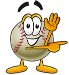 Clip art Graphic of a Baseball Cartoon Character Waving and Pointing