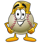 Clip art Graphic of a Baseball Cartoon Character Wearing a Helmet