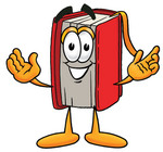 Clip Art Graphic of a Book Cartoon Character With Welcoming Open Arms