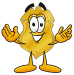Clip art Graphic of a Gold Law Enforcement Police Badge Cartoon Character With Welcoming Open Arms