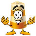 Clip art Graphic of a Construction Road Safety Barrel Cartoon Character With Welcoming Open Arms
